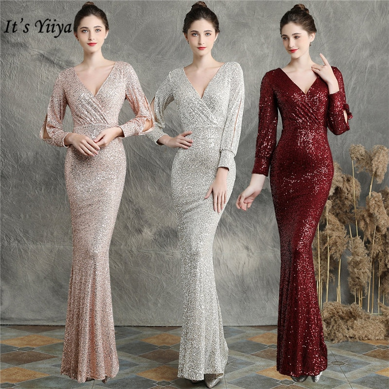 slive sequin formal dresses evening gown elegant long evening dresses evening dress arabic special occasion dresses es2062 Long Sleeves Evening Dresses It's Yiiya DX240 Elegant Sequined Mermaid Evening Gown 2020 Plus Size Special Occasion Dress