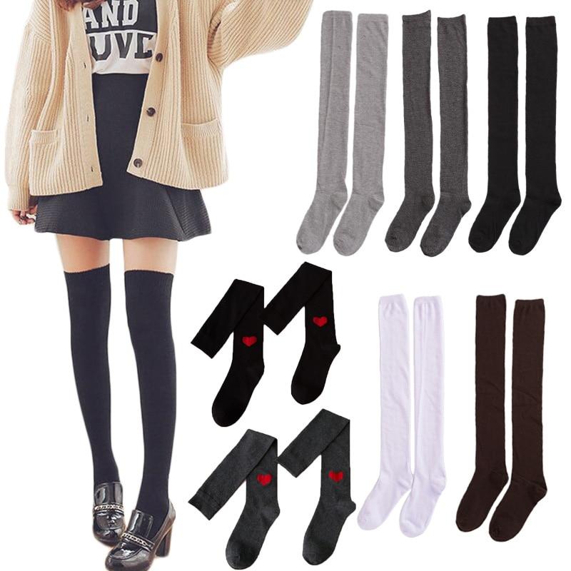 Женские носки, чулки, теплые чулки до бедра, гольфы, длинные хлопковые чулки, сексуальные чулки, женские чулки
