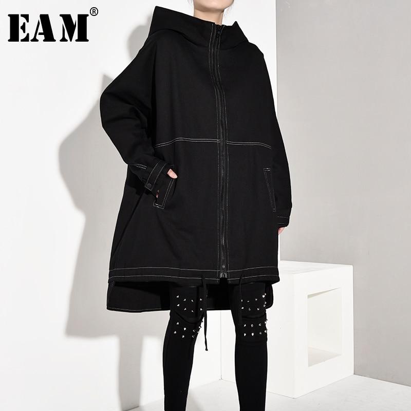 سترة واقية للنساء [EAM] مقاس كبير بقلنسوة وأكمام طويلة فضفاضة مناسبة للربيع والخريف 2021 1A8260