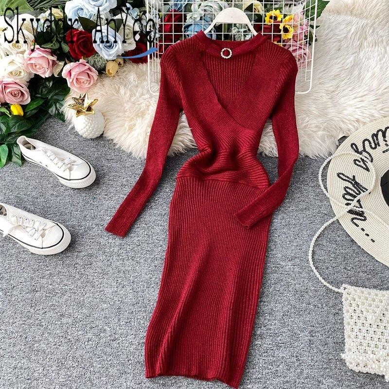 Vestido de oficina elegante de seda brillante para mujer 2019 túnica cuello en V vestido de jersey tejido ropa de trabajo estilo coreano ceñido vestido de mujer