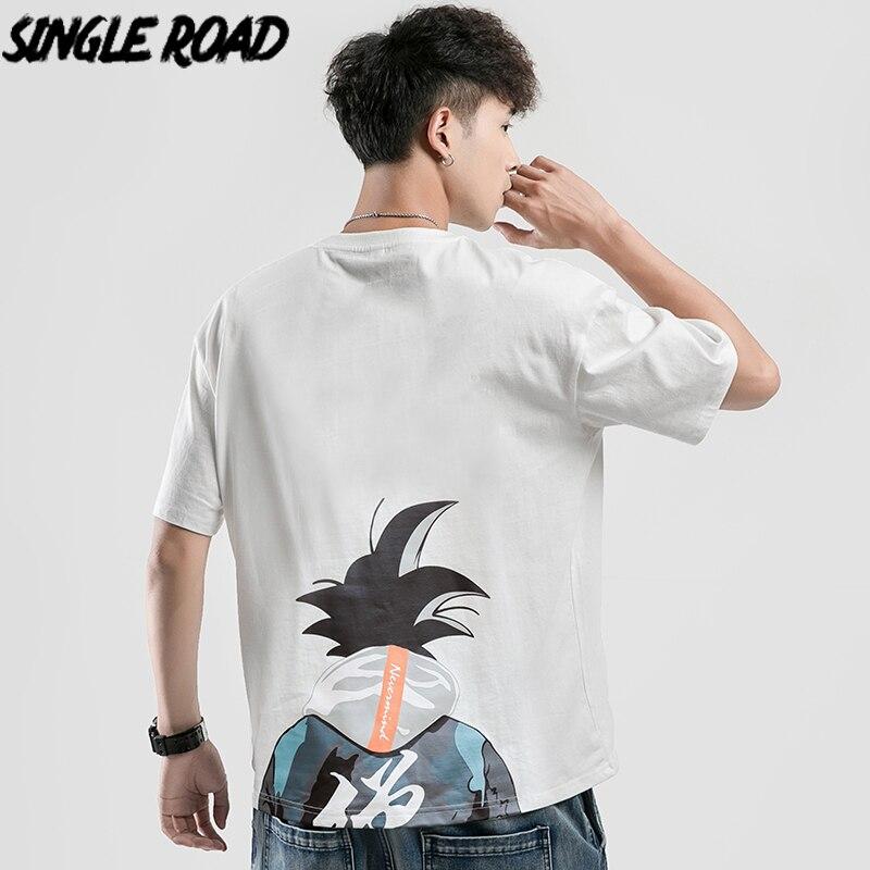 SingleRoad Man's T-shirt Men Oversized Dragon Ball Print Cotton Hip Hop Harajuku Tshirt Male Japanese Streetwear T Shirt Men