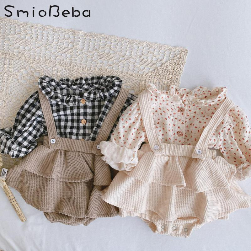 Vintage Baby Girl Overall Shirt Set Clothes Autumn Linen Girls Floral Blouss , Romper , Dress Newborn Baby Girls Strap Outfits