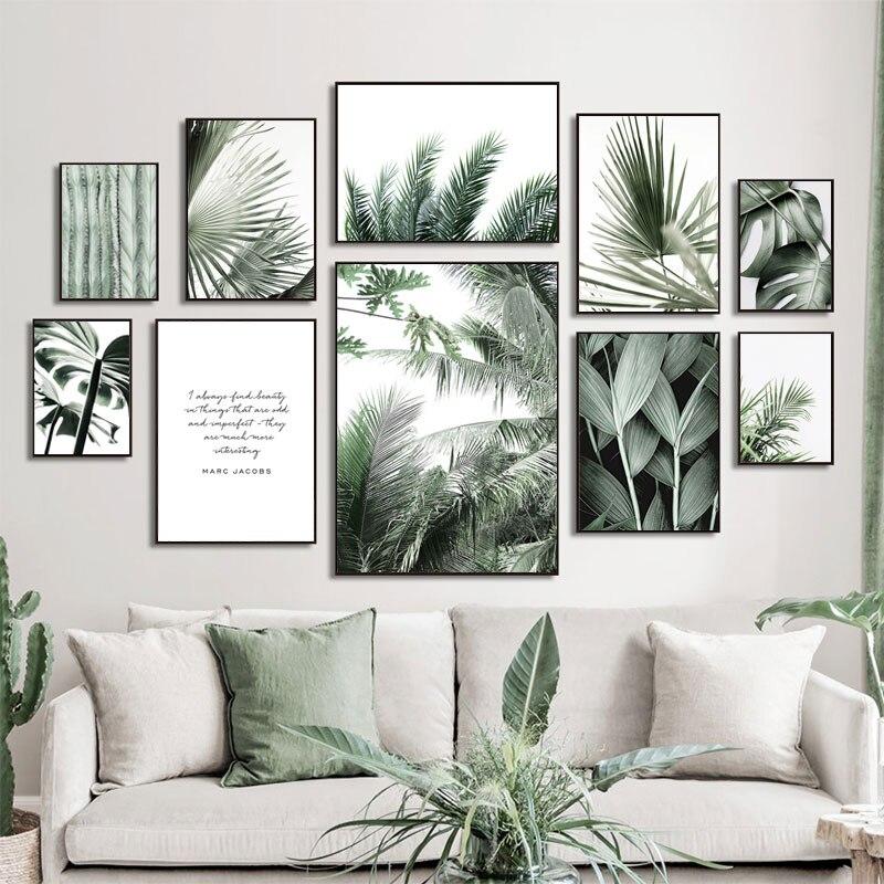 Картины на холсте с зелеными тропическими растениями, монстера, банан, лист, настенные картины в скандинавском стиле, настенные картины для ... картины