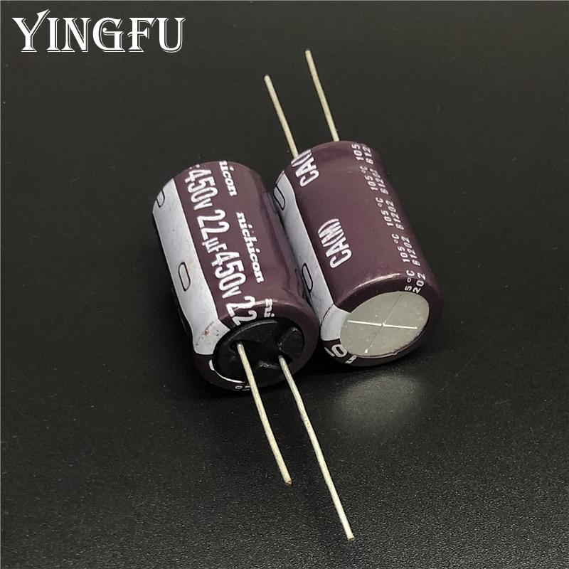 5 uds 22uF 450V NICHICON Japón serie CA 16x25mm alta ondulación actual larga vida 450V22uF condensador electrolítico de aluminio