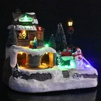 creative music led lights christmas luminous small house lights resin floating snow fairytale music town new year decoration