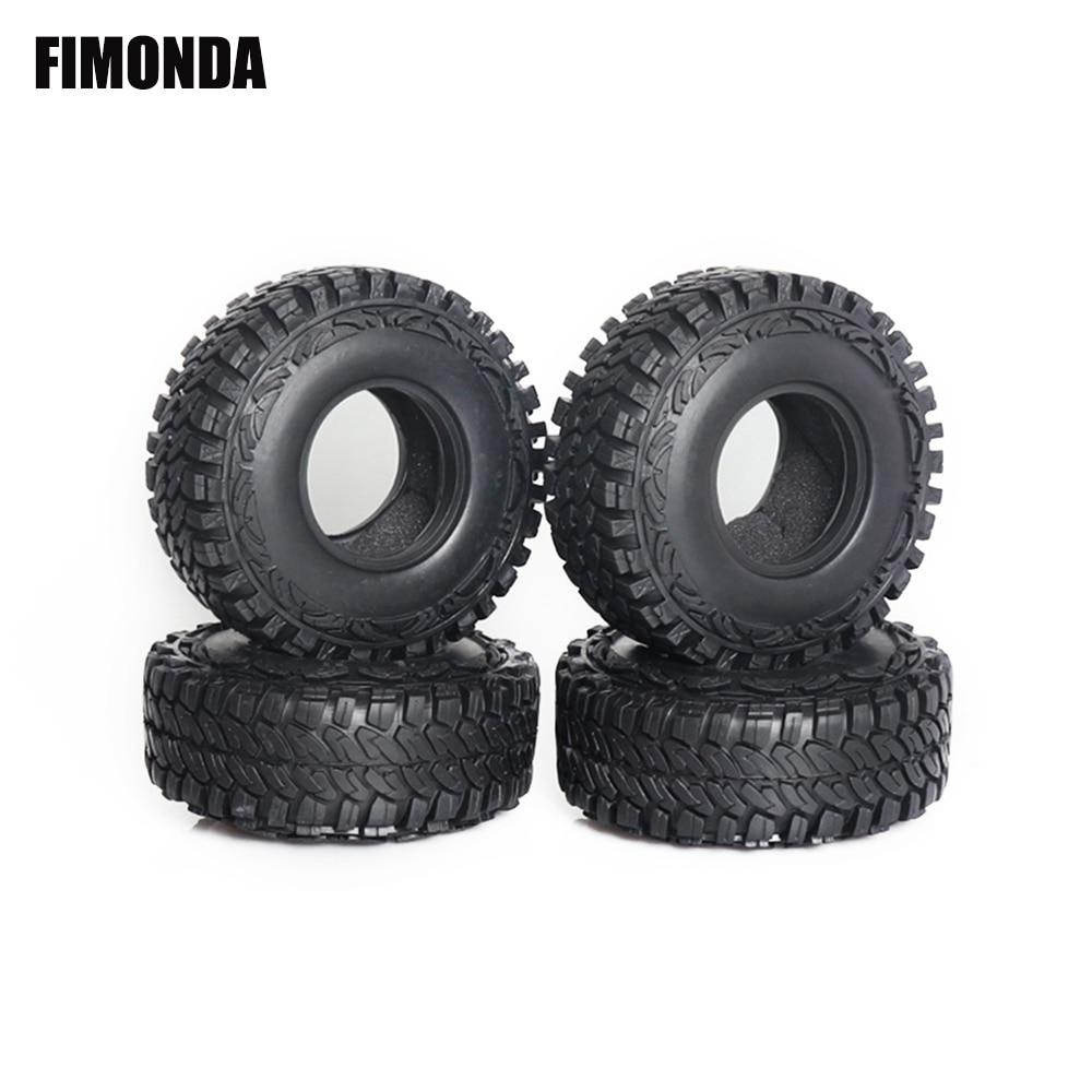 4 piezas 1/10 RC neumáticos de goma para coche 1,9 pulgadas 114*46mm neumáticos de rueda para 110 Rock orugas Axial SCX10 90046 RR10 espectros Traxxas TRX4 KM4