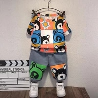 boys childrens clothing summer casual fashion cute cartoon printed short sleeved t shirt trousers kids two piece suit bt172