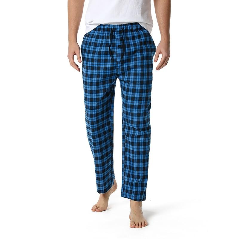 Мужские модные мягкие удобные фланелевые пижамные брюки весна-осень модные хлопковые брюки в клетку одежда для отдыха Ночная одежда