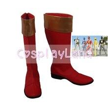 Uchu Sentai Kyuranger escadron spatial neuf Ranger Kyu rouge Cosplay bottes chaussures accessoires personnalisés chaussures de fête dhalloween