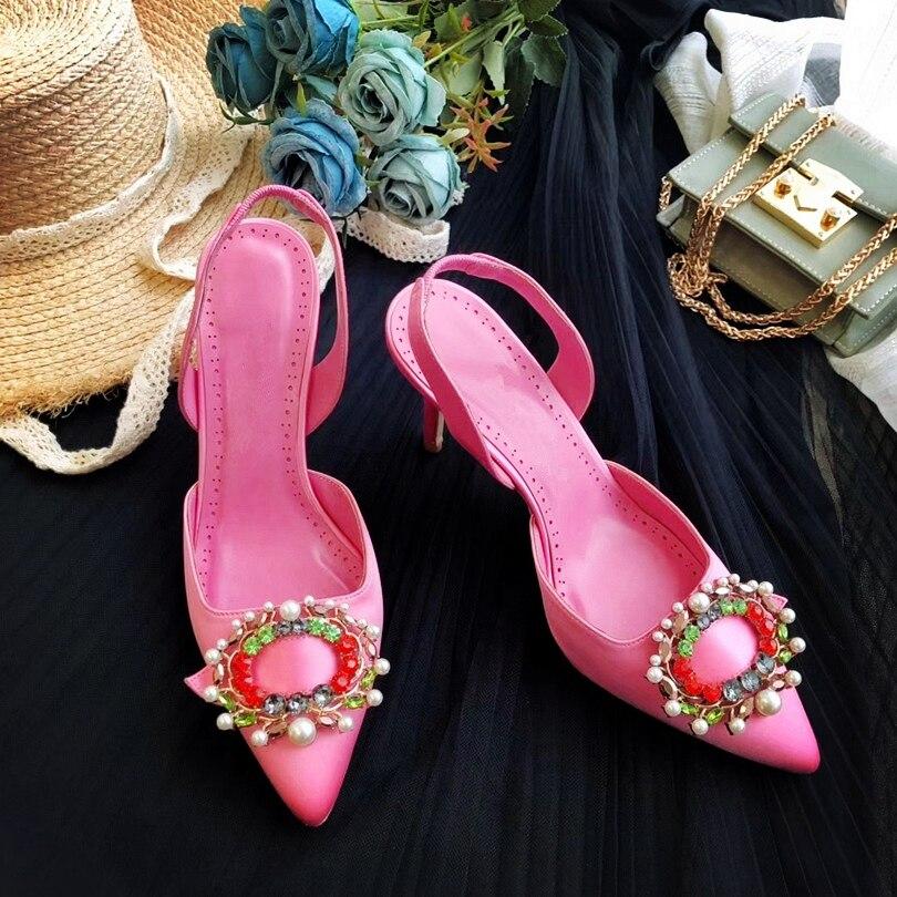 Zapatos de tacón alto de aguja de cristal de marca lujosa para mujer, sandalias de seda de colores caramelo para mujer, zapatos de fiesta para mujer