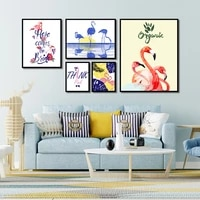 modern minimalist hanging wall art pink red flamingo nordic style poster decor pictures for living room bedroom