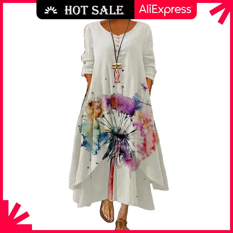 MOVOKAKA 2021 White Long Dress Women Floral Print Vintage Long Sleeve Elegant Dress Plus Size Vestid