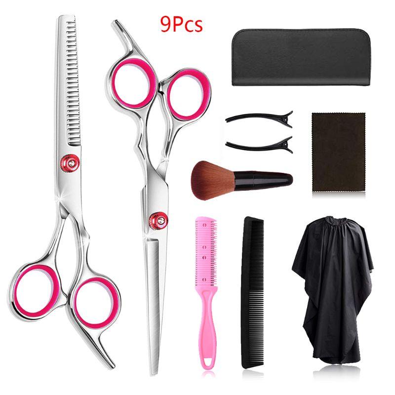 9 pcs tesoura de cabelo 6 polegada barbeiro cabeleireiro corte profissional conjunto tesoura r3mf