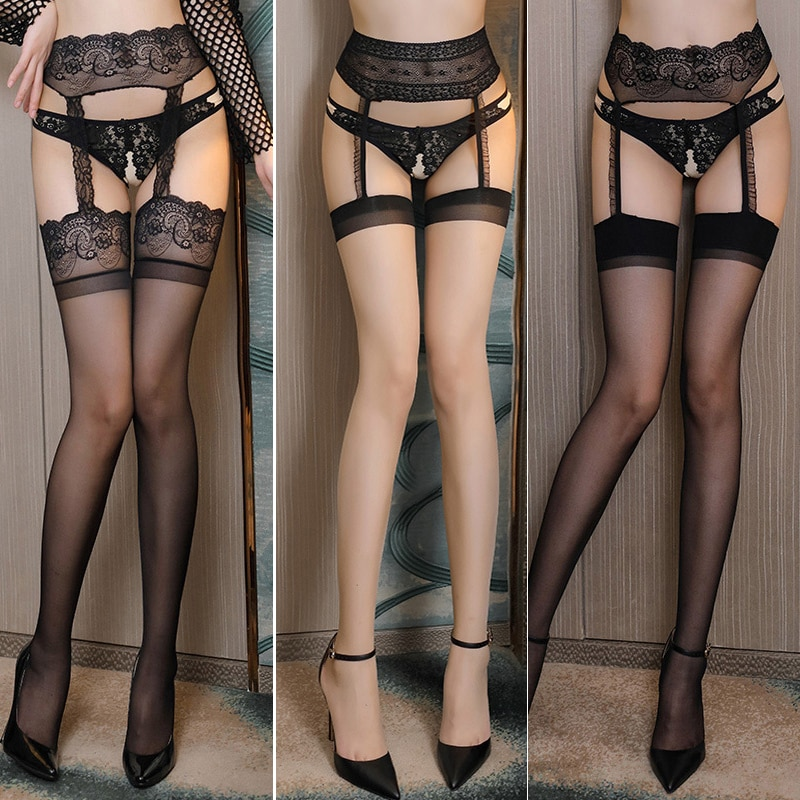 Sexy Hollow Out Thigh High Stockings Women Lingerie Temptation Garter Belt Pantyhose Tights Elastic