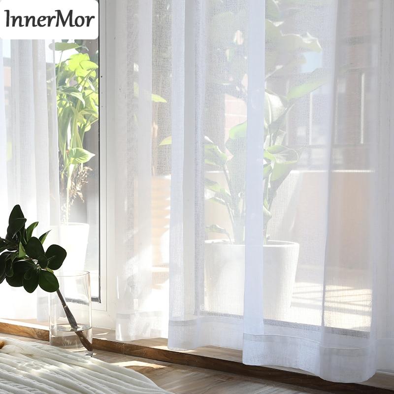 Innermor białe solidne zasłony do salonu eleganckie zasłony na oświetlenie do sypialni transmisyjne zasłony do kuchni dostosowane