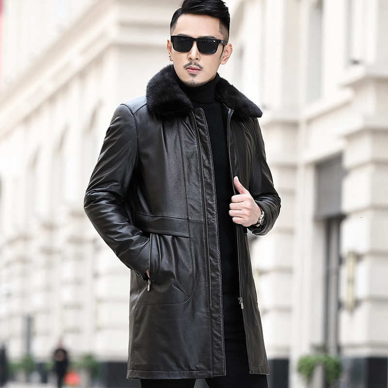 Genuine Leather Jacket Men Cow Leather Jacket Real Mink Fur Collar Duck Down Winter Coat Mens Leather Jacket MA8201NR12 YY1142