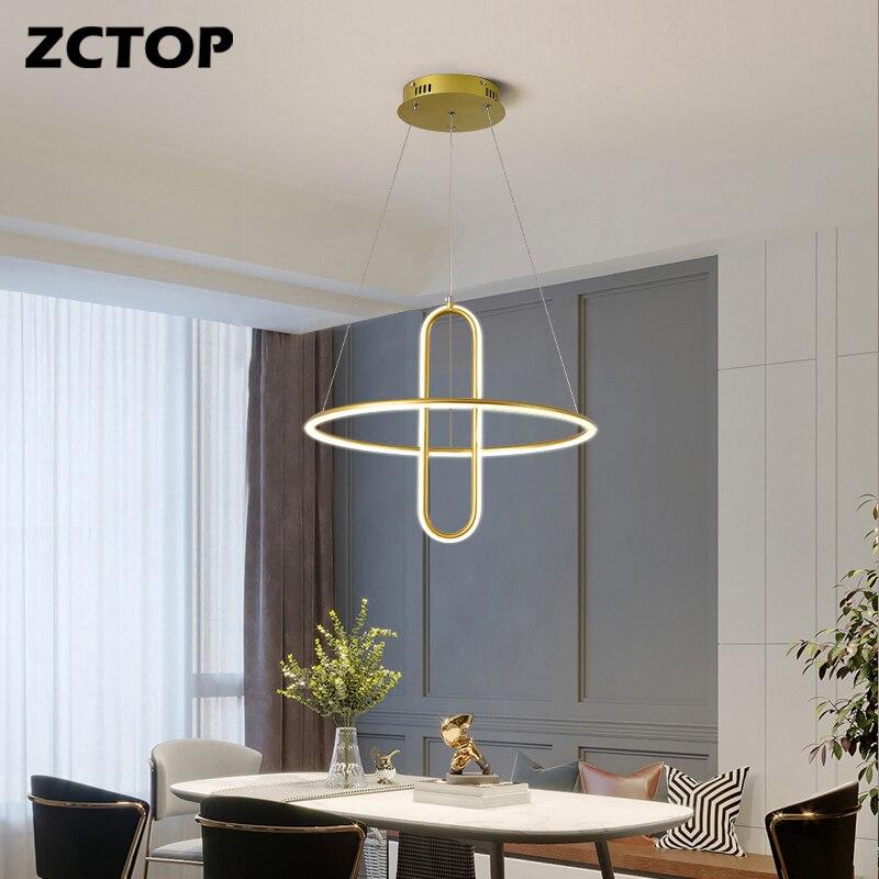 Современные светодиодсветодиодный подвесные светильники, золотистые черные висячие люстры для столовой, гостиной, кухни, офиса, Декор для ...