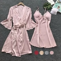 new trendy solid 3pcs womens sexy silk satin pajamas robe dress lingerie sleepwear nightwear set padded fashion suits sleepwear