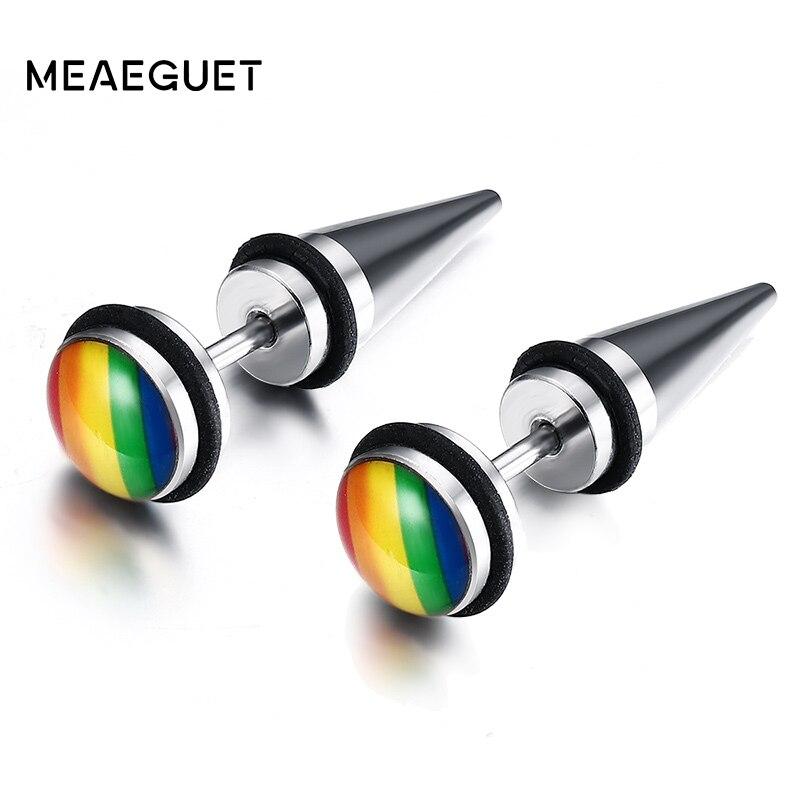 Meaeguet mode arc-en-ciel couleur Gay Pride boucles doreilles pour les femmes rondes résine acier inoxydable Brincos Bijoux