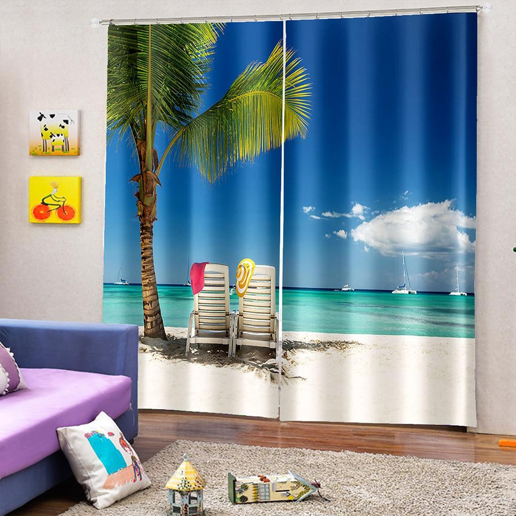 المنزل شاطئ الجبل مشهد ثلاثية الأبعاد الطباعة الكبار الستار ظلة المواد مخصص ديكور الستار غرفة نوم ستارة غرفة المعيشة