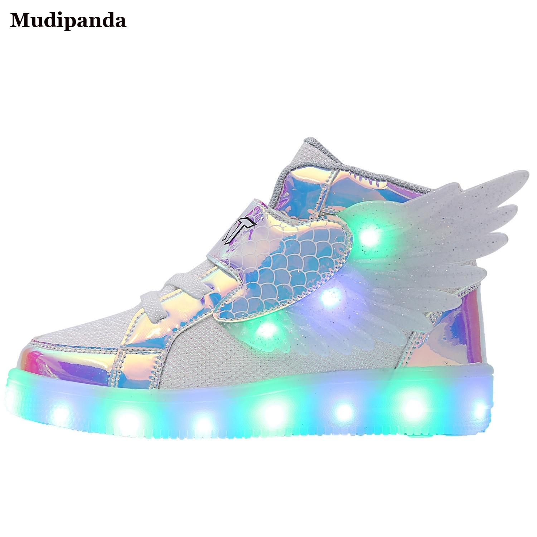 عالية الجودة Led طفلة أحذية أجنحة الملونة متوهجة الاطفال حذاء كاجوال بنين الخريف تنفس الرياضة في سن المراهقة فتاة أحذية رياضية 2021 جديد