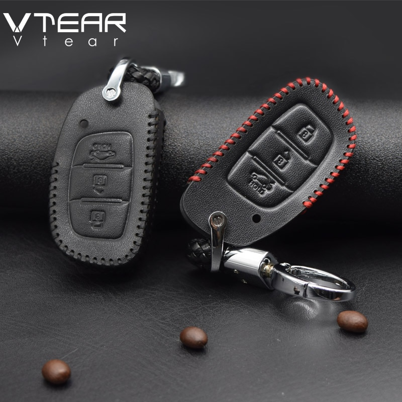 Funda para llave de coche Vtear para Hyundai creta ix25, carcasa protectora para llavero de coche de cuero, accesorios para Interior 2017 2018 2019