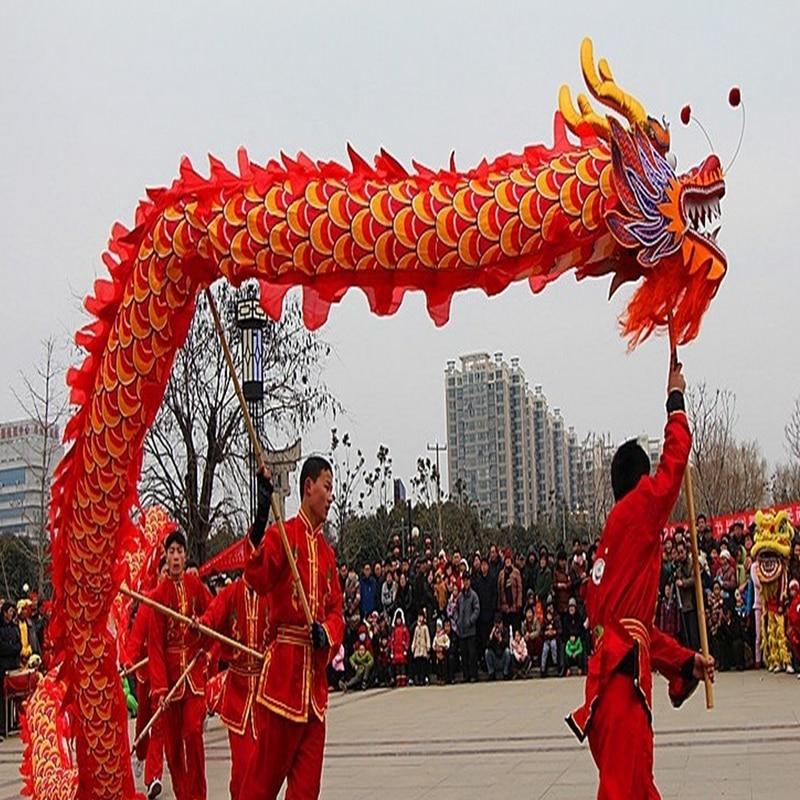 10m Length Dragon Dance Costume Silk 8 Players Children Student School  Art Halloween Party Performance Parade Folk Stage