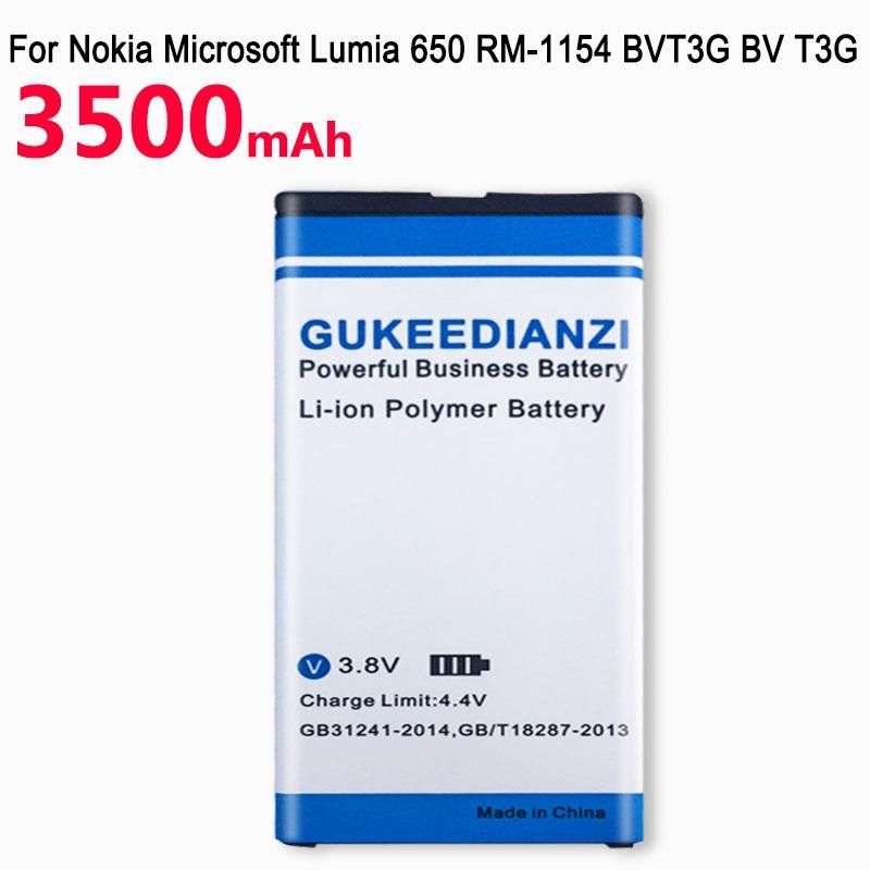 GUKEEDIANZI High Quality 3500mAh BV-T3G Battery For Microsoft Nokia Lumia 650 RM-1154 BV T3G Cell Phone Batteries