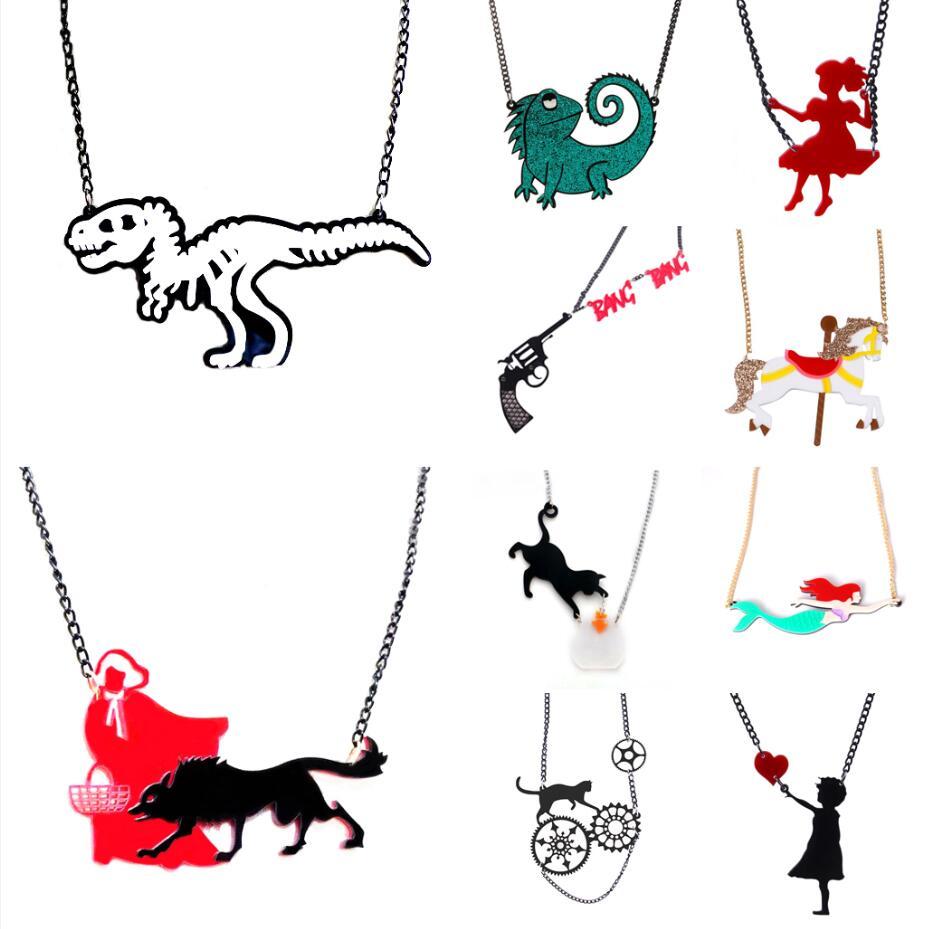 Necklaces For Women Men Acrylic Party Fashion Punk New Cartoon Gifts Eye-Catching Night Club Hip Hop Dollar Flower Dinosaur