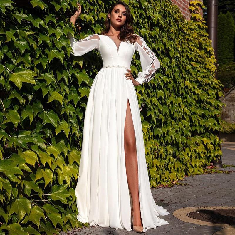 Get Fashion Women High Front Slit Bridal Gowns A Line Long Sleeve Chiffon Wedding Dresses