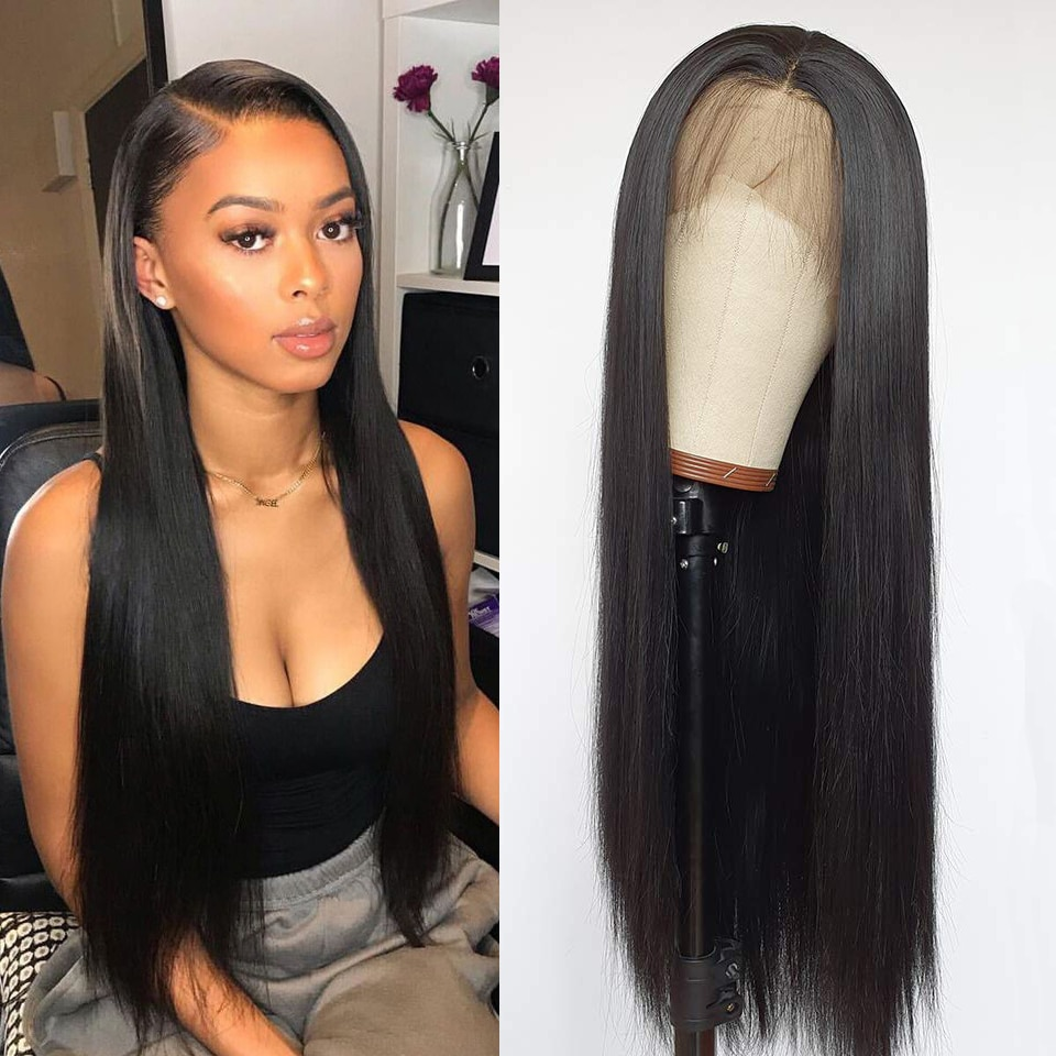DOMINO HAIR Straight Lace Front Human Hair Wigs For Women 13X4 Lace Frontal Wig Brazilian Straight L