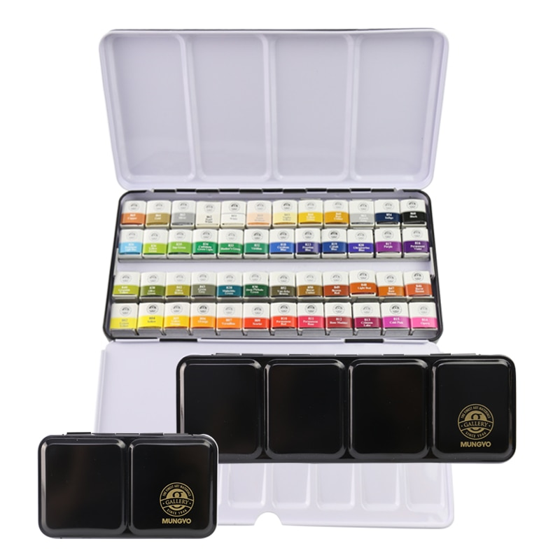 MONGYO 12/24/48 color solid watercolor paint set portable metal box water-based watercolor solid paint student art supplies