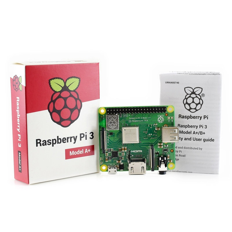 Raspberry Pi 3, modelo A + Plus, CPU de 4 núcleos, 512 RAM, con WiFi y Bluetooth, carcasa de acrílico, cargador de energía y disipador de calor