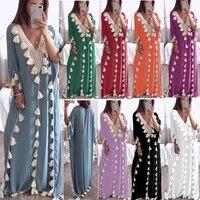arabic islamic dubai kaftan abaya middle eastern muslim moroccan kaftan dress v neck large size solid maxi robe femme summer