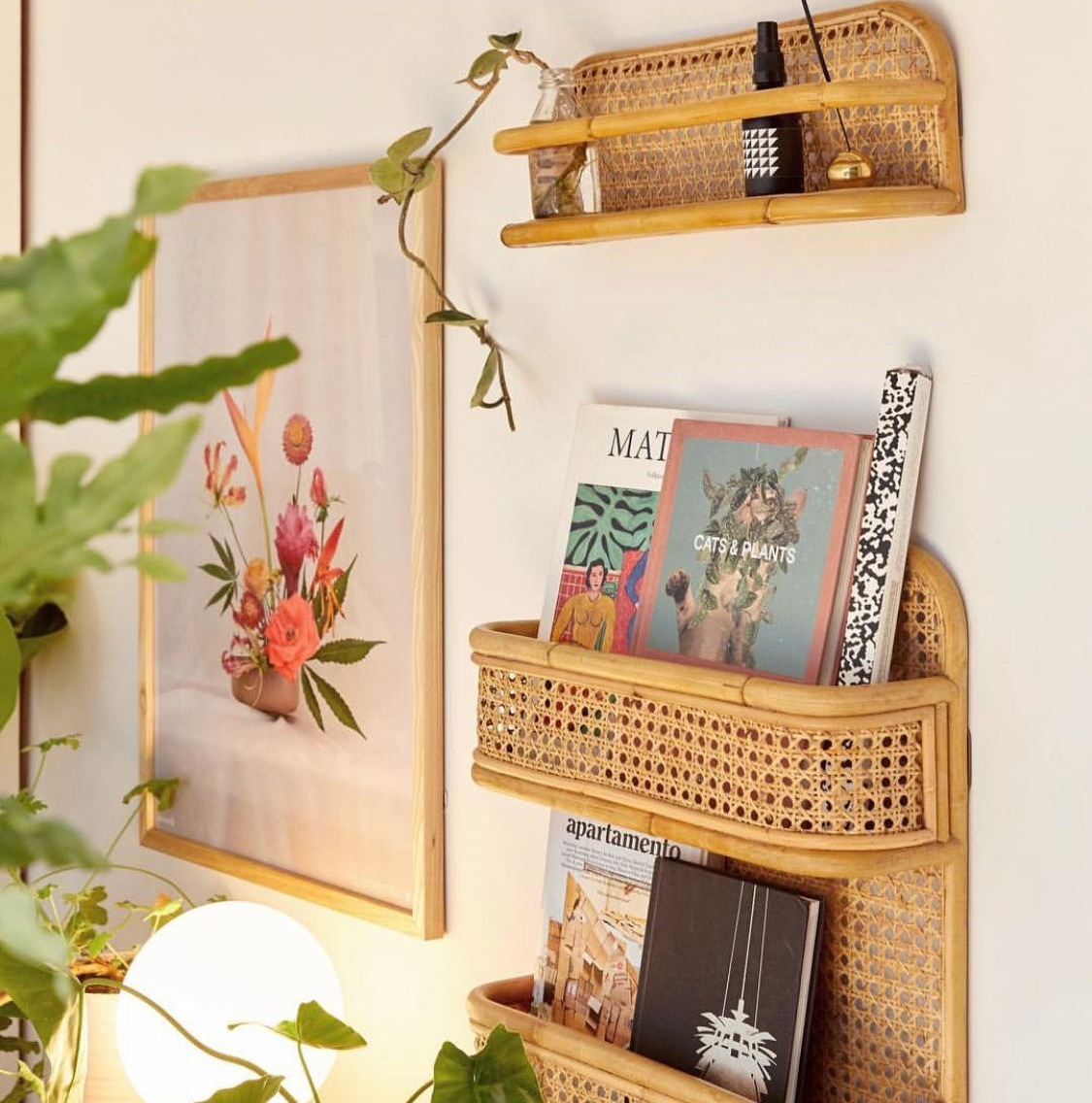 Estante del almacenaje para pared de bambú tejido a mano, Perchero de pared, organizador L46 X w13 cm