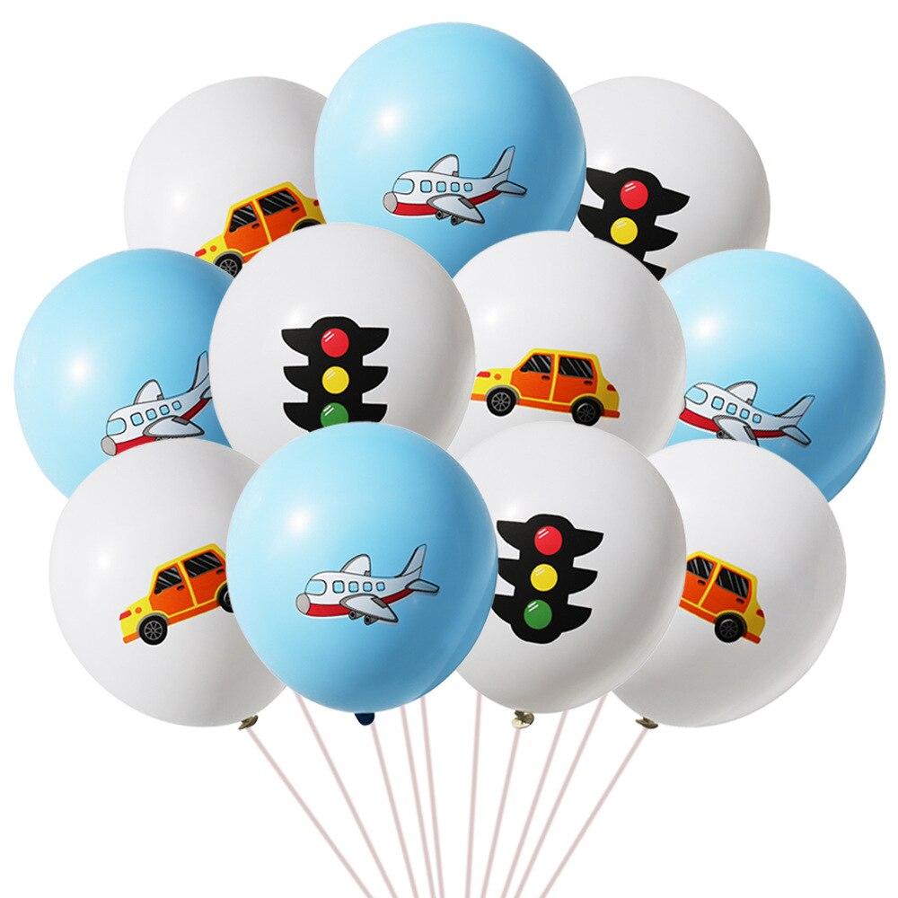 10 pçs/lote carro quente avião luz de tráfego azul laranja balões chuveiro do bebê menino favor decorações festa aniversário corrida crianças brinquedos caminhão