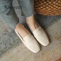 kanseet 2021 autumn womens shoes concise beige genuine leather low heels handmade slip on office lady shoes women plus size 43
