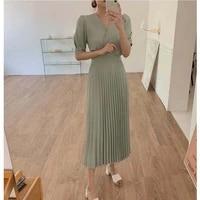 korean chic summer solid oversize v neck bandage waist short sleeve pleated dresses women elegant temperament vestidos de mujer