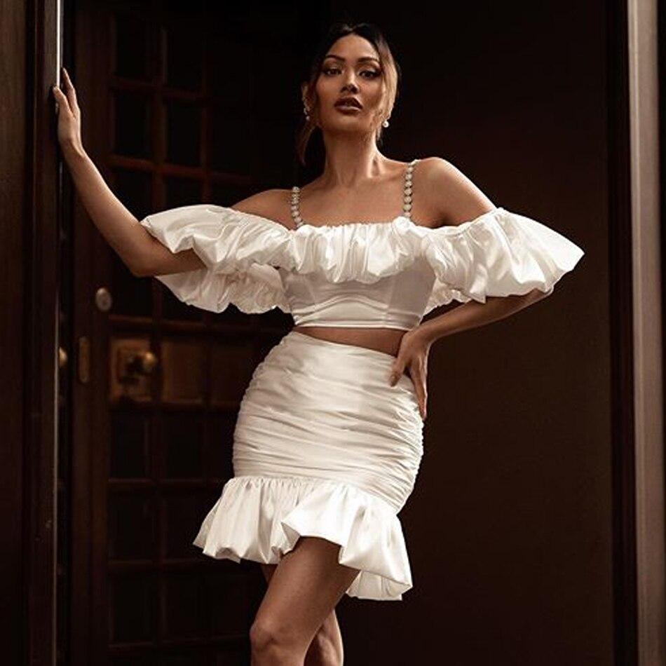 Adyce 2020 novo verão feminino babados brancos 2 conjuntos de duas peças sexy cinta espaguete manga curta topo & mini saia celebridade clube conjuntos