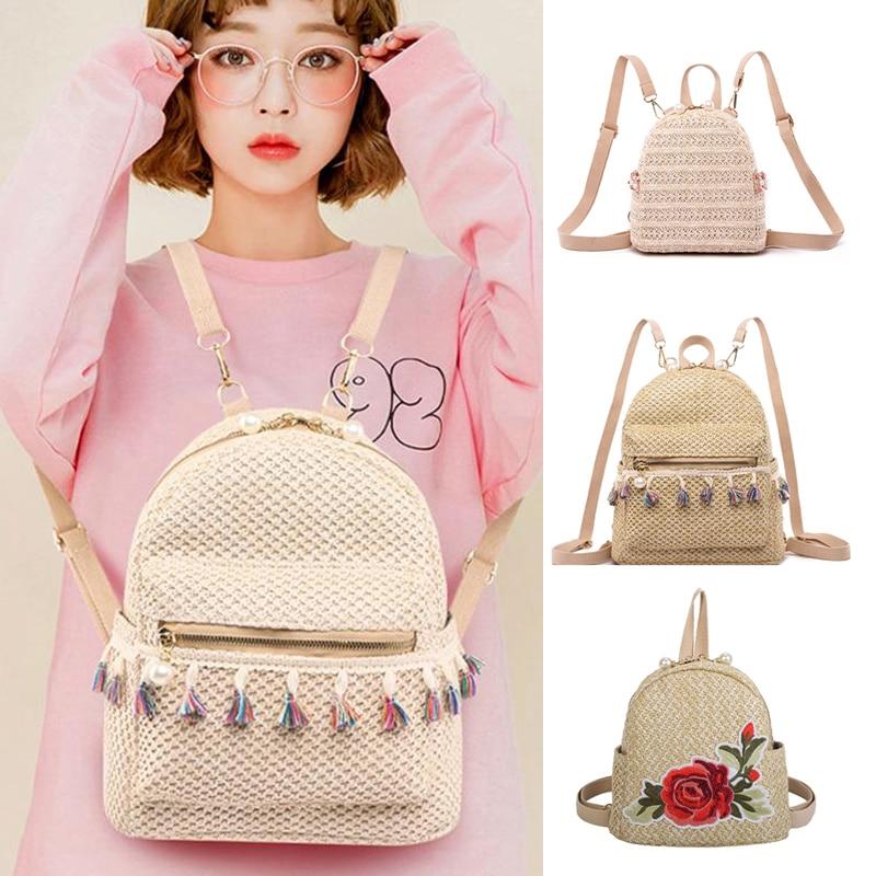 Bohemian Tassel Pearl Straw Women Backpack Embroidery Rose Weave School Bags for Teenager Girls Backpacks Womens Bag 2021