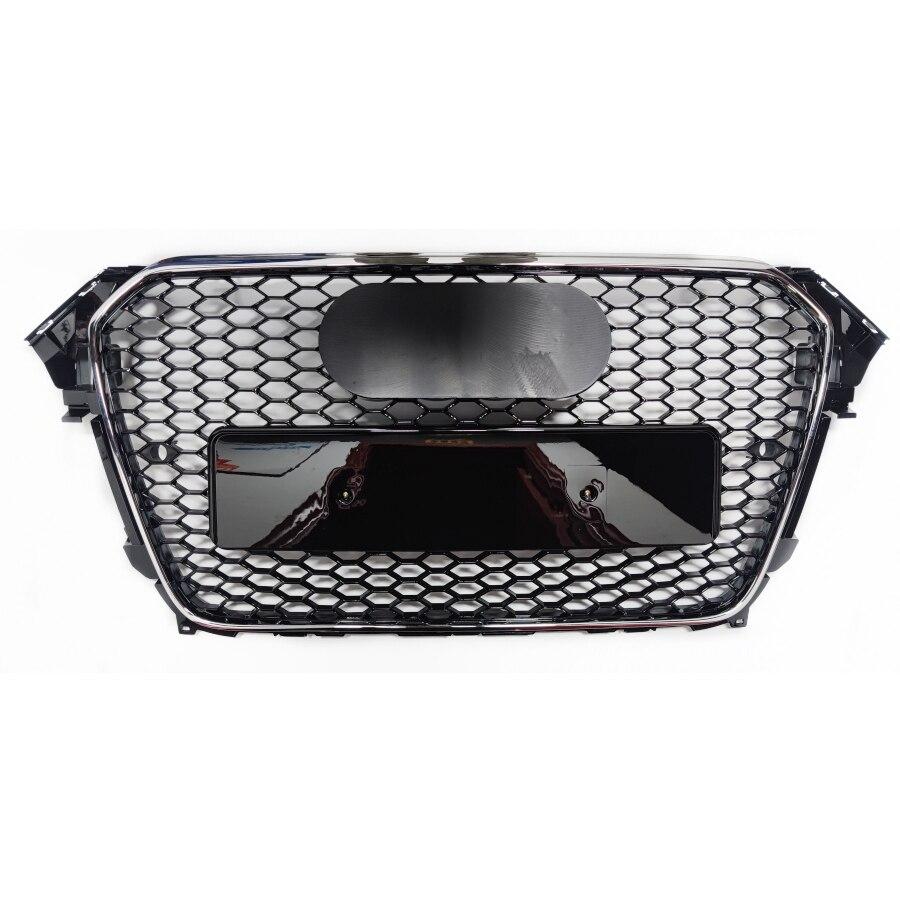 غطاء شواية السيارة, غطاء الشواية الأمامي الرياضي طراز RS4 بنمط قرص العسل الشبكي باللون الأسود لسيارات أودي A4/S4 B8.5 2013-2016 ملحقات تزيين السيارة