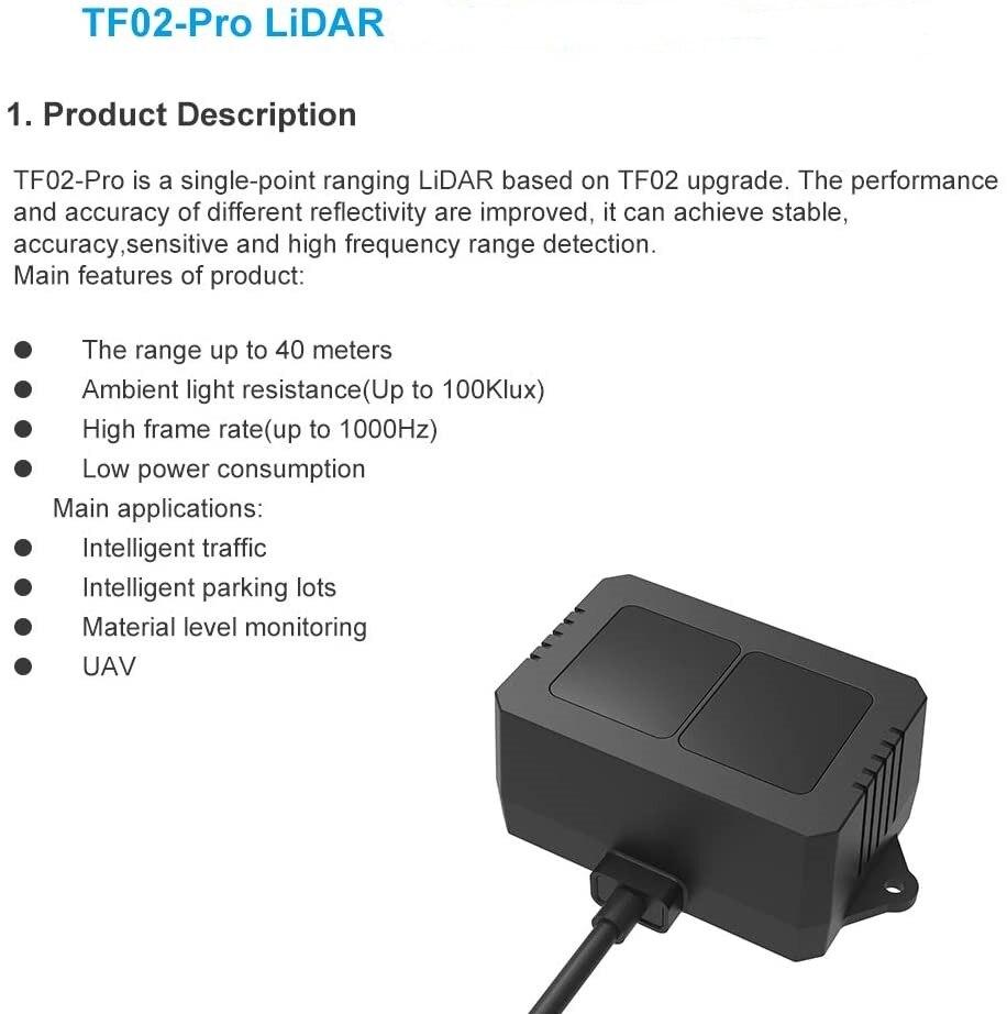2PCS TF02 Pro TOF Single Point Lidar Range Finder Sensor Module 40m LED Rangefinder Ranging Laser Detector UART I2C IP65 enlarge