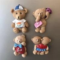 3d resin fridge magnets creative cute couple bear cartoon refrigerator magnetic sticker home decoration accessories gift