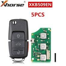 XHORSE-clé télécommande universelle filaire XKB509EN B5, avec rabat à 3 + 1 boutons pour outil à clé VVDI, Version anglaise de 5 pièces/lot