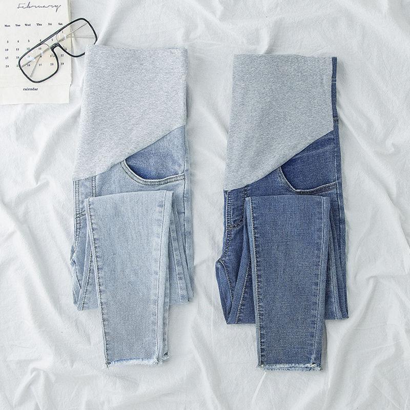 Небесно-голубые джинсы для беременных, брюки для беременных, одежда для кормящих женщин, Леггинсы для беременных, брюки, джинсы брюки капри для будущих мам M-2XL