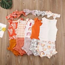 Baby Sommer Kleidung Neugeborenen Baby Mädchen Jungen Kostüme Kleidung Sleeveless Floral Body Shorts Outfits Set детская одежда