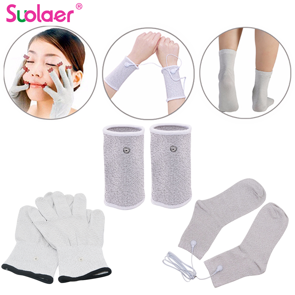 Dropshipping conductor de plata fibra TENS/electrodo EMS terapia guantes + calcetines + muñequeras Unidad de electroterapia para terapia física