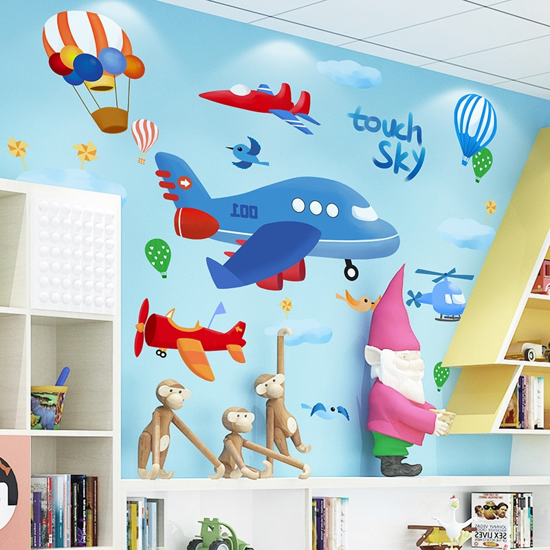 [Shijuekongjian] dessin animé avions Stickers muraux bricolage ballons à Air chaud Stickers muraux pour enfants chambre bébé chambre pépinière décoration