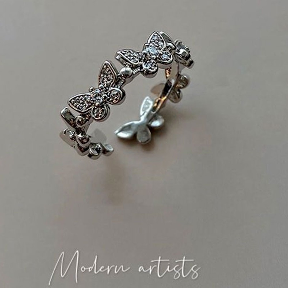 2021 Trend Butterfly Rings For Women Vintage Ancient Silver Color Punk Hip Hop Ring Fashion Jewelry