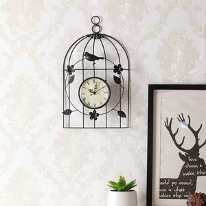 Creative Bird Cage Metal Analog Wall Clock Silent Non Ticking  Quality Quartz Battery Operated Vintage Clock